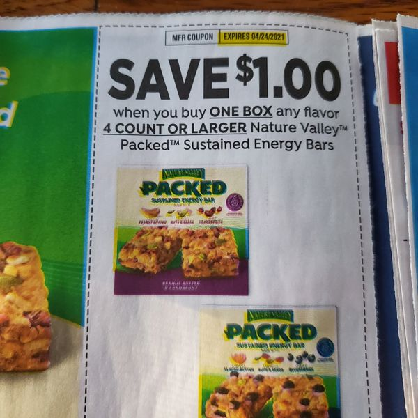 10 Coupons $1/1 Nature Valley Sustained Energy Bars 4ct+ Exp.4/24/21