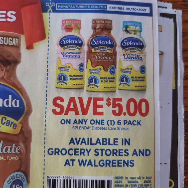 10 Coupons $5/1 Splenda Diabetes Care Shakes Exp.6/30/21
