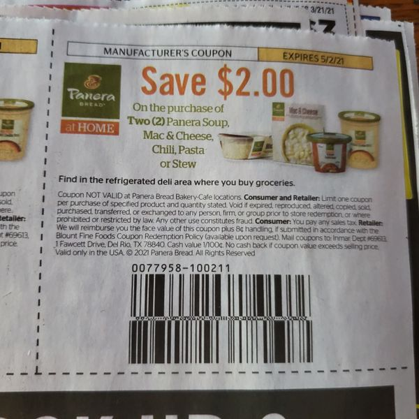10 Coupons $2/2 Panera Soup, Mac & Cheese, Chili, Pasta or Stew Exp.5/2/21