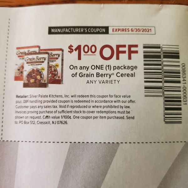 10 Coupons $1/1 Grain Berry Cereal Exp.6/30/21