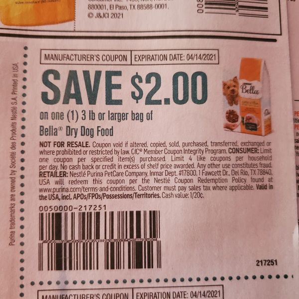 10 Coupons $2/1 Bella Dry Dog Food 3lb Bag Exp.4/14/21