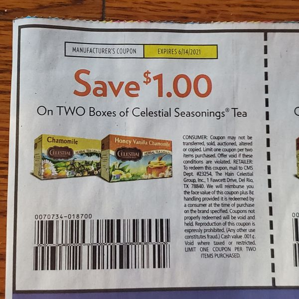10 Coupons $1/2 Celestial Seasonings Tea Exp.6/14/21