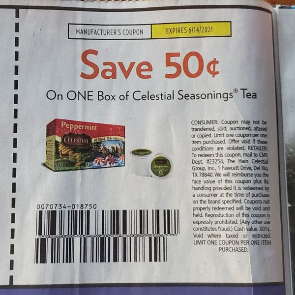 10 Coupons $.50/1 Celestial Seasonings Tea Exp.6/14/21