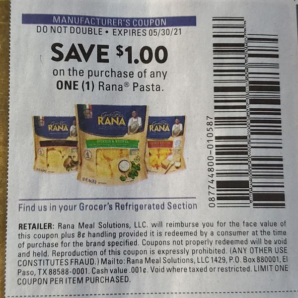 10 Coupons $1/1 Rana Pasta Exp.5/30/21