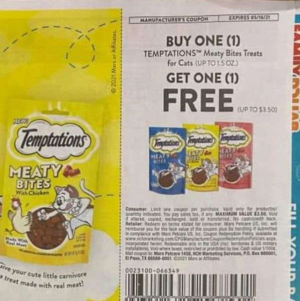 10 Coupons BOGO Temptations Meaty Bites Treats for Cats (Up To $3.50) Exp.5/16/21