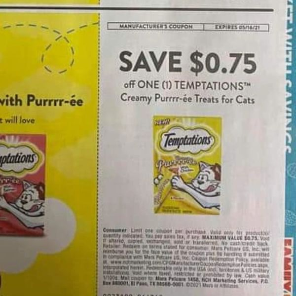 10 Coupons $.75/1 Temptations Creamy Purrr-ee Treats for Cats Exp.5/16/21