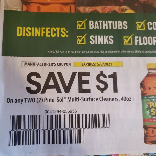 10 Coupons $1/2 Pine-Sol Multi-Surface Cleaners 40oz+ Exp.5/9/21