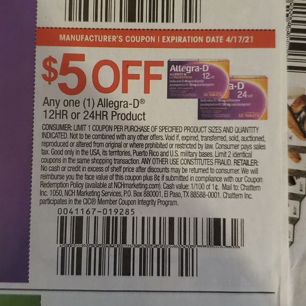 10 Coupons $5/1 Allegra-D 12HR or 24HR Product Exp.4/17/21