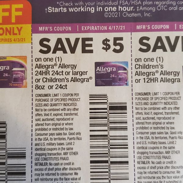 10 Coupons $5/1 Allegra Allergy 24HR 24ct+ or Children's Allegra 8oz or 24ct Exp.4/17/21