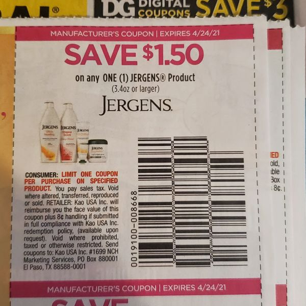 10 Coupons $1.50/1 Jergens Product (3.4oz+) Exp.4/24/21