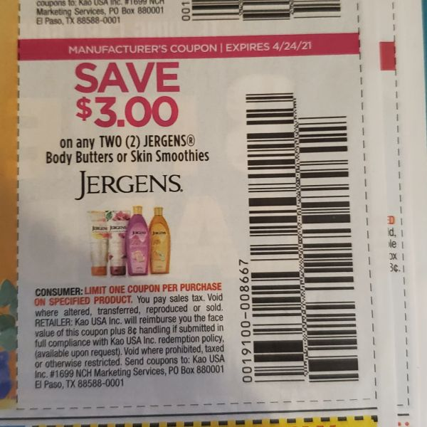 10 Coupons $3/2 Jergens Body Butters or Skin Smoothies Exp.4/24/21