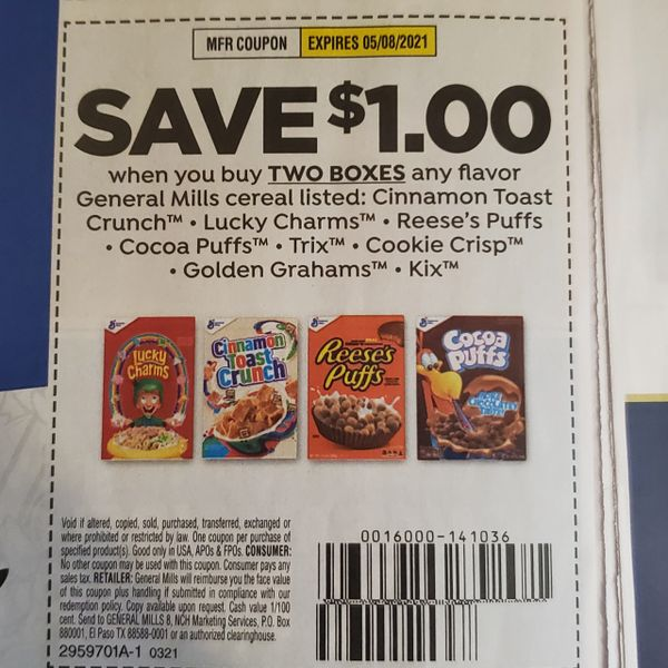 10 Coupons $1/2 General Mills Cereals Listed (SEE PIC) Exp.5/8/21