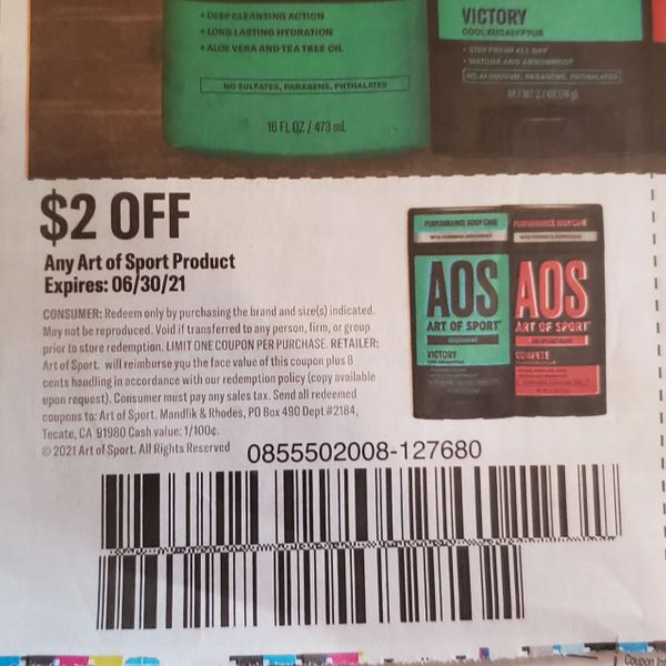 10 Coupons $2/1 Art of Sport Product Exp.6/30/21