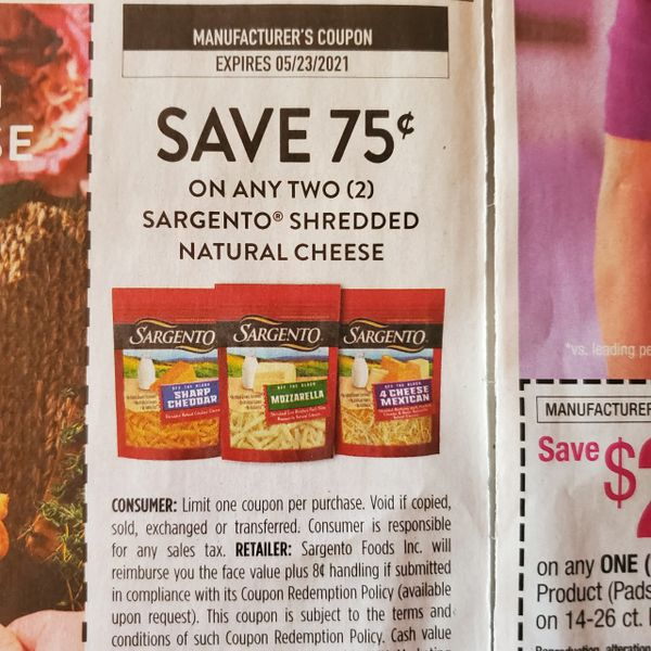 10 Coupons $.75/2 Sargento Shredded Natural Cheese Exp.5/23/21