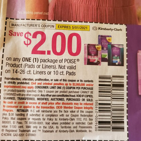 10 Coupons $2/1 Poise Product (Pads or Liners) Exp.5/1/21