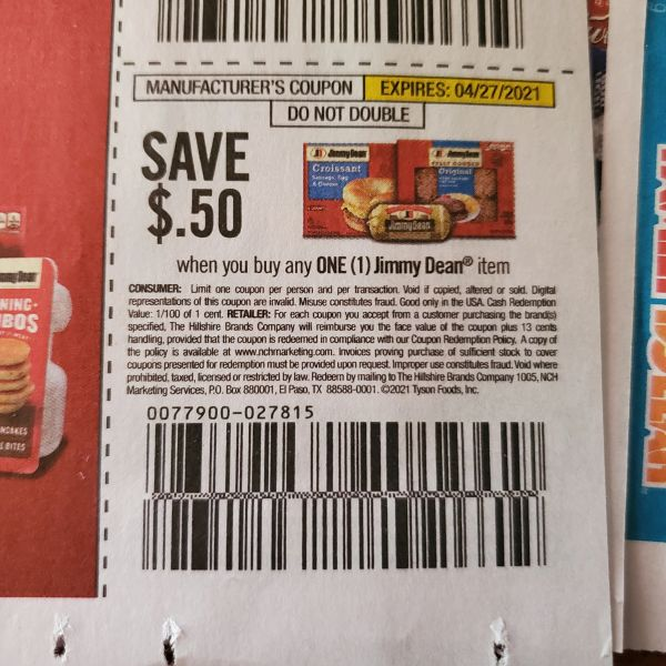 10 Coupons $.50/1 Jimmy Dean Item Exp.4/27/21