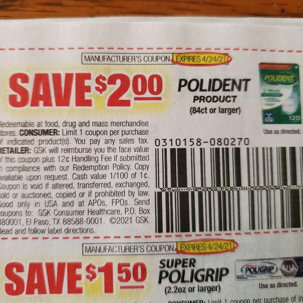 10 Coupons $2/1 Polident Product 84ct+ Exp.4/24/21