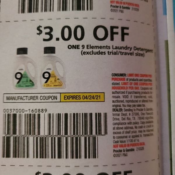10 Coupons $3/1 9 Elements Laundry Detergent Exp.4/24/21