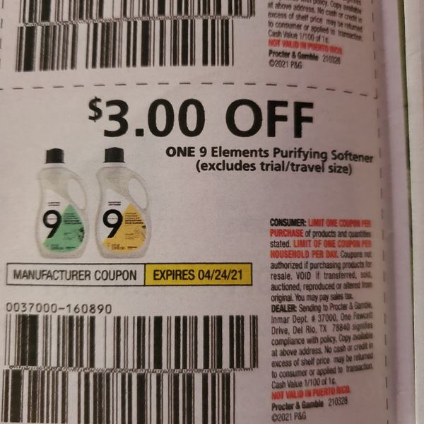 10 Coupons $3/1 9 Elements Purifying Softener Exp.4/24/21