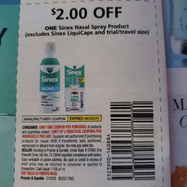 10 Coupons $2/1 Sinex Nasal Spray Product Exp.4/24/21