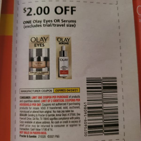 10 coupons $2/1 Olay Eyes or Serums Exp.4/24/21