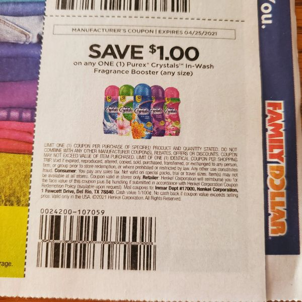 10 Coupons $1/1 Purex Crystals In-Wash Fragrance Booster Exp.4/25/21