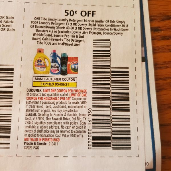 10 Coupons $.50/1 Tide Simply Laundry Detergent (SEE PIC) Exp.5/8/21