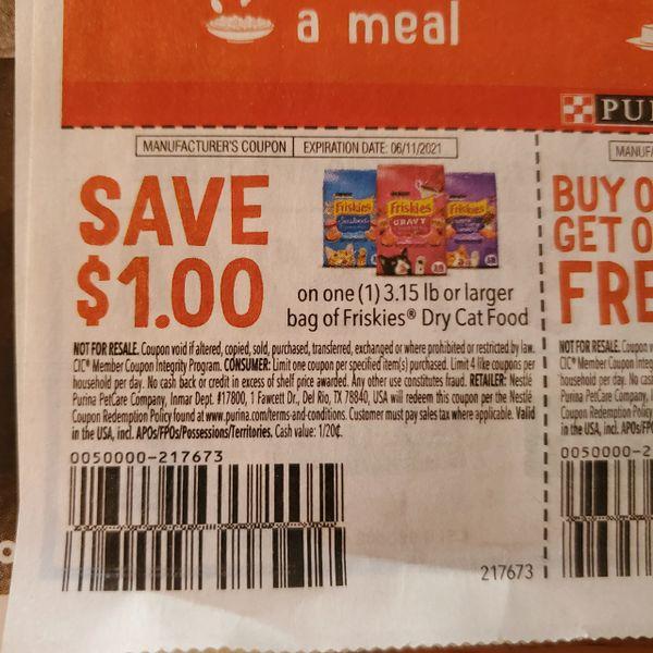 10 Coupons $1/1 Friskies Dry Cat Food 3.15lb+ Exp.6/11/21