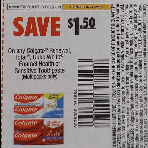 10 Coupons $1.50/1 Colgate Renewal, Total, Optic White, Enamel Health or Sensitive toothpaste (Multipacks Only) Exp.4/24/21
