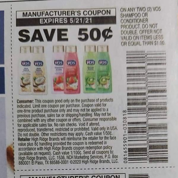 10 Coupons $.50/2 VO5 Shampoo or Conditioner Product Exp.5/21/21