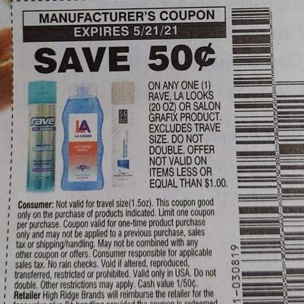 10 Coupons $.50/1 Rave, LA Looks (20oz) or Salon Grafix Product Exp.5/21/21