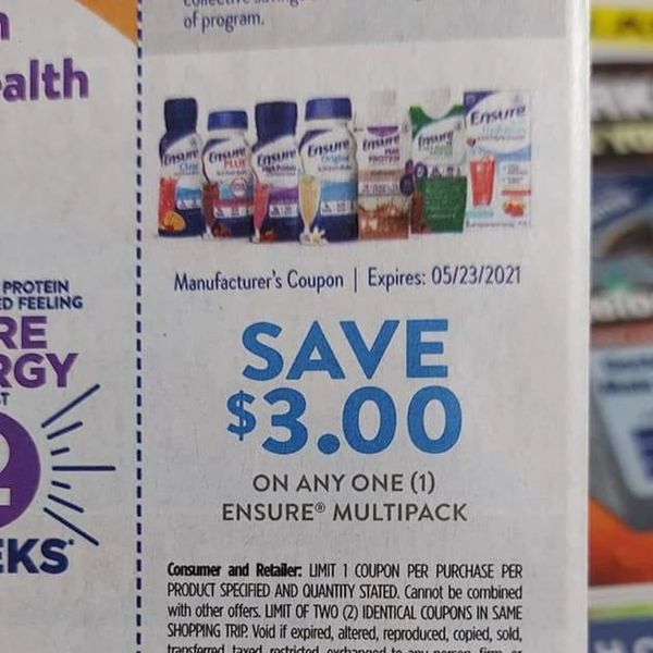 10 coupons $3/1 Ensure Multipack Exp.5/23/21