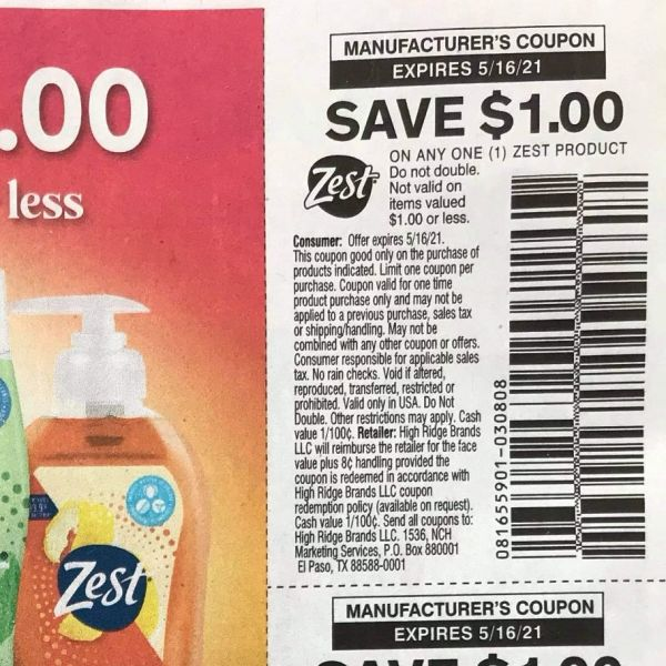 10 Coupons $1/1 Zest Product Exp.5/16/21