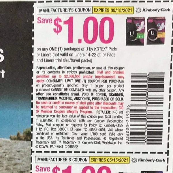 10 Coupons $1/1 U by Kotex Pads or Liners (Excludes 14-22ct Liners) Exp.5/15/21