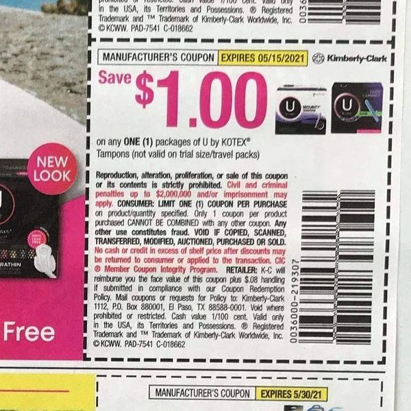 10 Coupons $1/1 U by Kotex Tampons Exp.5/15/21