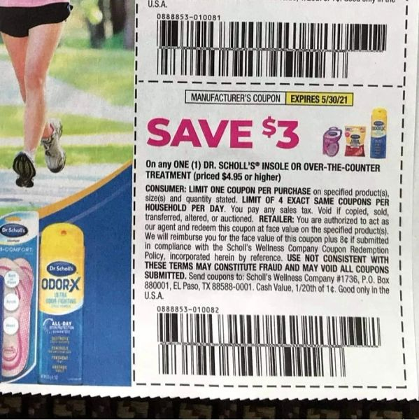 10 Coupons $3/1 Dr. Scholl's Insole or over the Counter Treatment ($4.95+) Exp.5/30/21