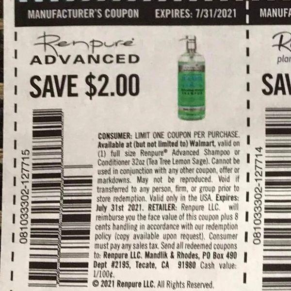 10 Coupons $2/1 Renpure Advanced Exp.7/31/21