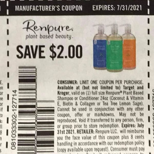 10 Coupons $2/1 Renpure Plant Based Beauty Exp.7/31/21