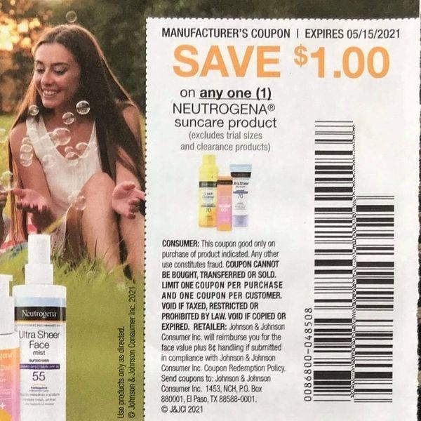 10 Coupons $1/1 Neutrogena Suncare Product Exp.5/15/21