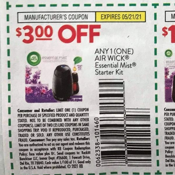 10 Coupons $3/1 Air Wick Essential Mist Starter Kit Exp.5/21/21