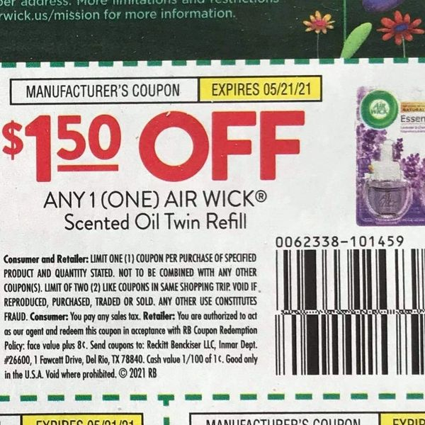10 Coupons $1.50/1 Air Wick Scented Oil Twin Refill Exp.5/21/21