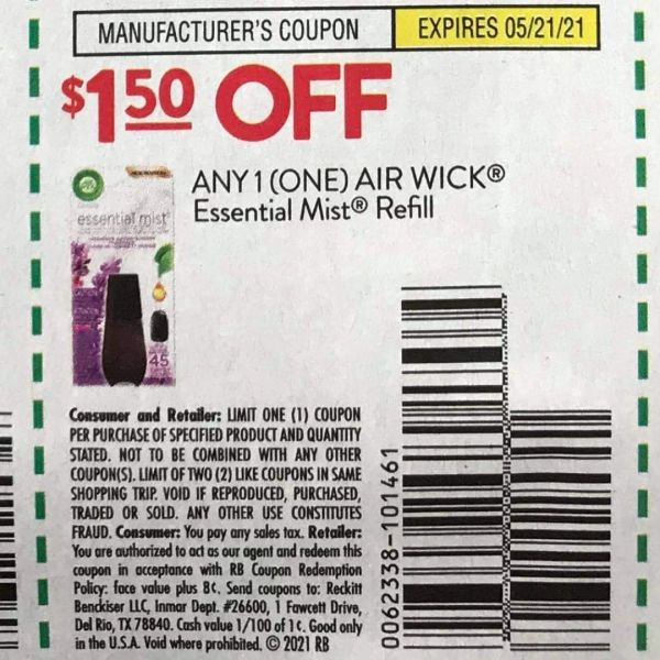 10 Coupons $1.50/1 Air Wick Essential Mist Refill Exp.5/21/21