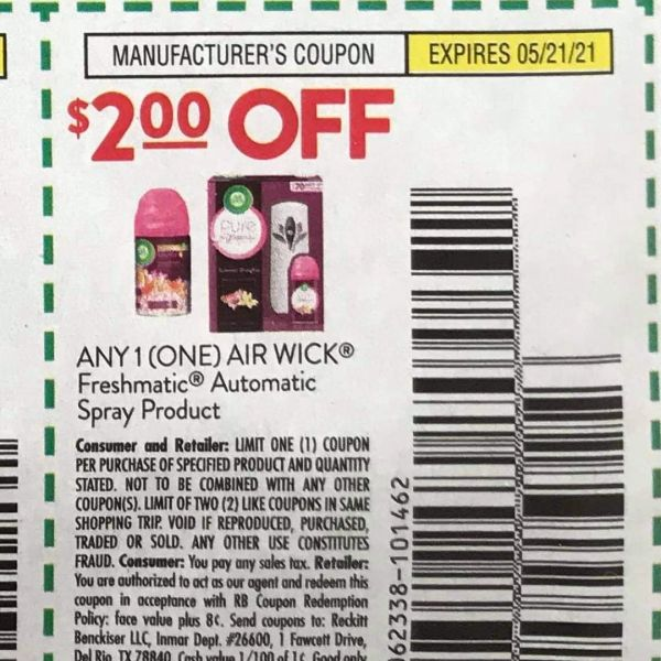 10 Coupons $2/1 Air Wick Freshmatic Automatic Spray Product Exp.5/21/21