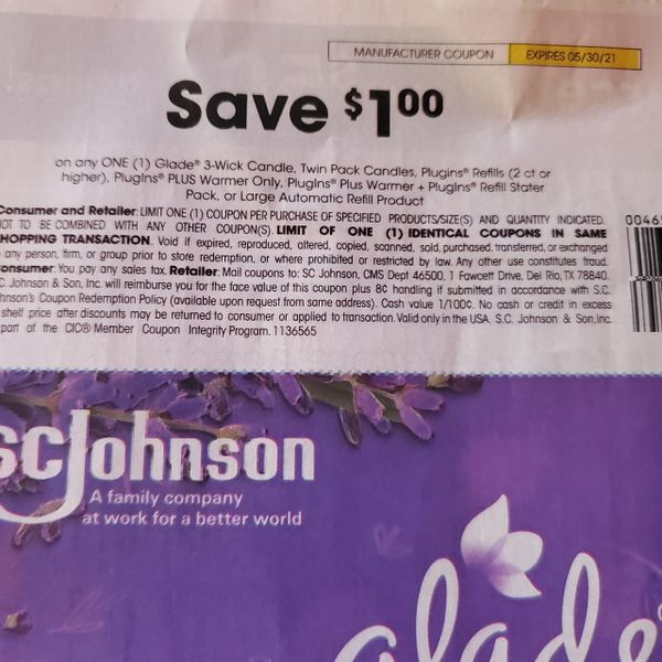 10 Coupons $1/1 Glade 3-Wick Candle, Twin Pack Candles, Plugins Refill (2ct+) Plugins PLUS Warmer Only, Plugins Plus Warmer + Plugins Refill Starter Pack or Large Automatic Refill Product Exp.5/30/21