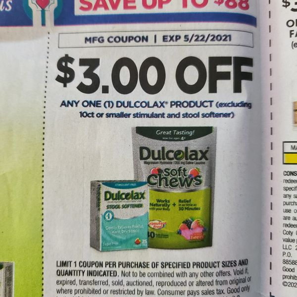 10 Coupons $3/1 Dulcolax Product (Excluding 10ct or Smaller Stimulant and Stool Softener) Exp.5/22/21