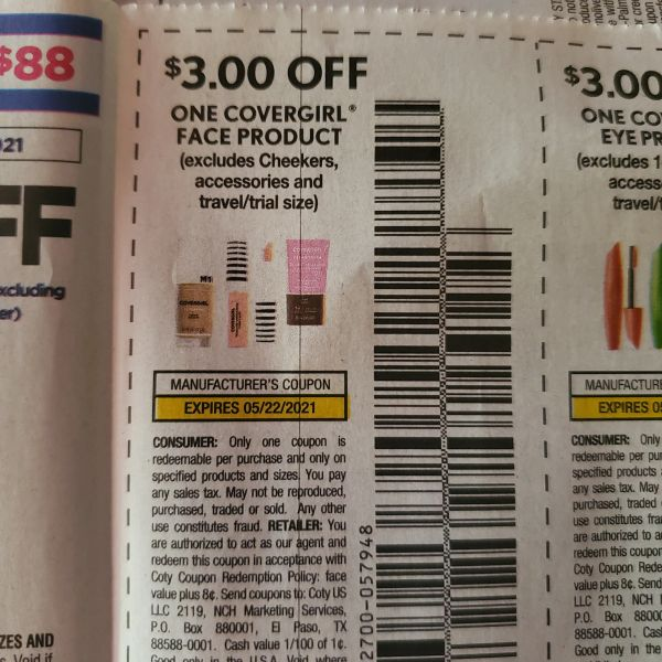 10 Coupons $3/1 Covergirl Face Product (Excludes Cheekers, Accessories) Exp.5/22/21