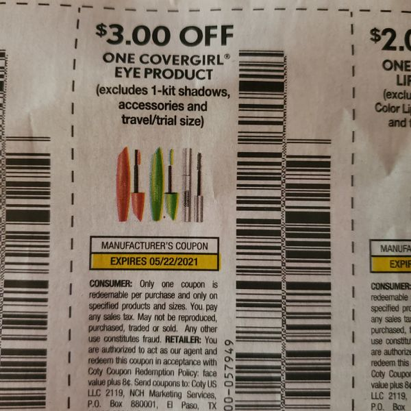 10 Coupons $3/1 Covergirl Eye Product (Excludes 1-Kit Shadows, accessories) Exp.5/22/21
