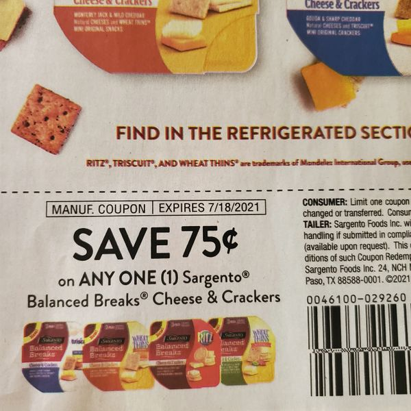 10 Coupons $.75/1 Sargento Balanced Breaks Cheese & Crackers Exp.7/18/21