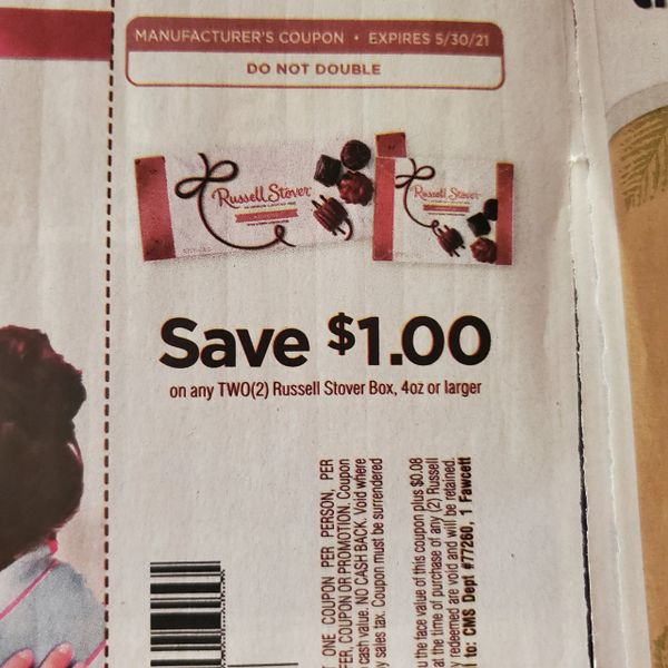 10 Coupons $1/2 Russel Stover Box 4oz+ Exp.5/30/21