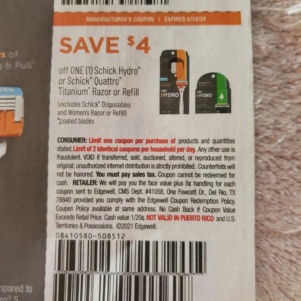 10 Coupons $4/1 Schick Hydro or Schick Quattro Titanium Razor or Refill (Excludes Schick Disposables and Women's Razor or Refill) Exp.5/15/21